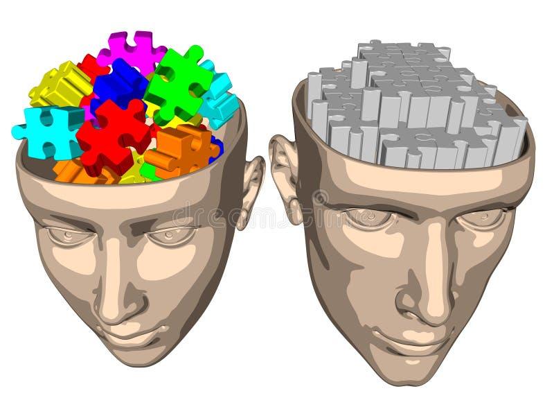 Desconcierte el cerebro de la mujer y del hombre - historieta stock de ilustración