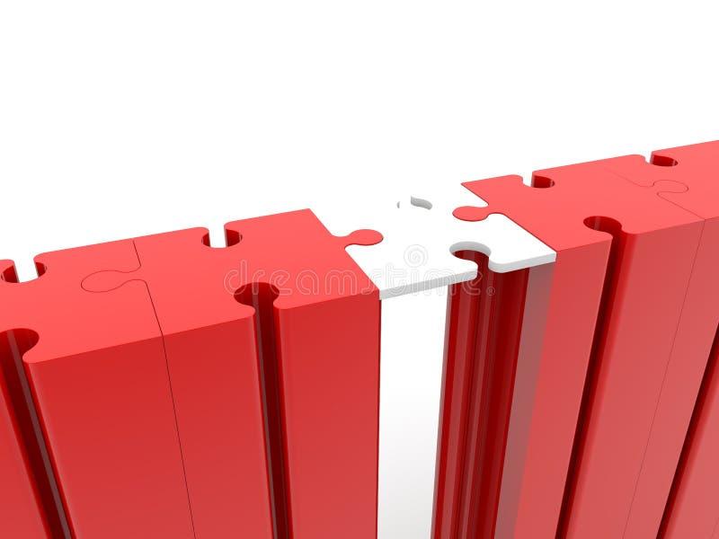 Desconcierte el concepto de la conexión de puente en blanco y rojo libre illustration