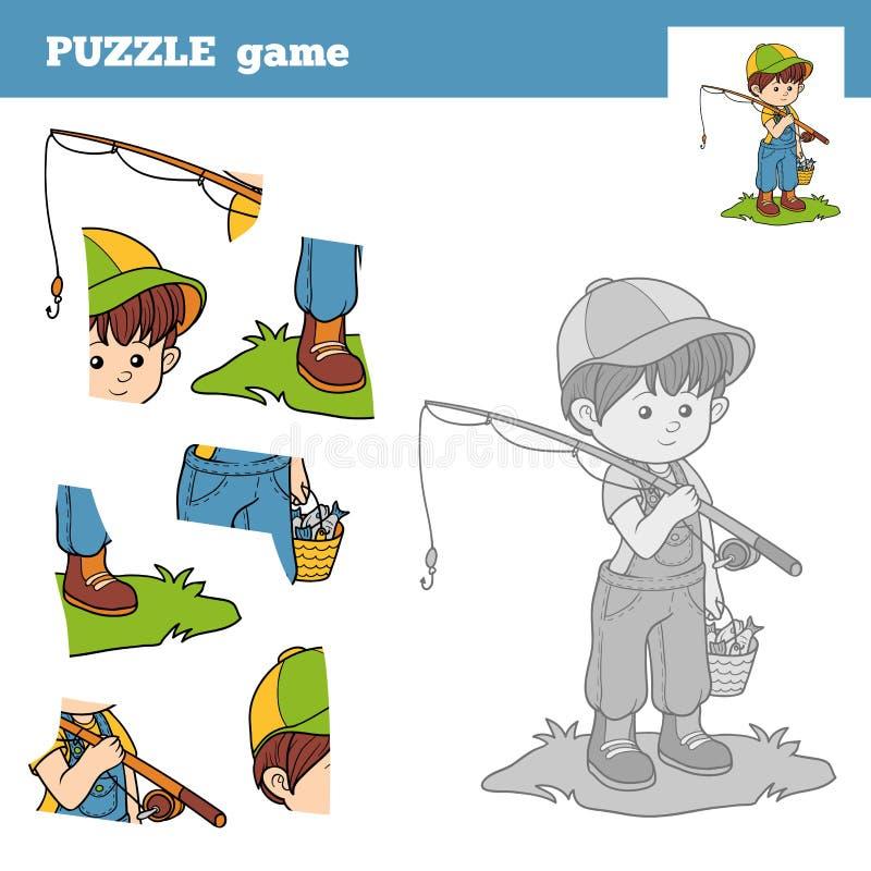 Desconcierte el juego para los niños con el pescador del muchacho libre illustration