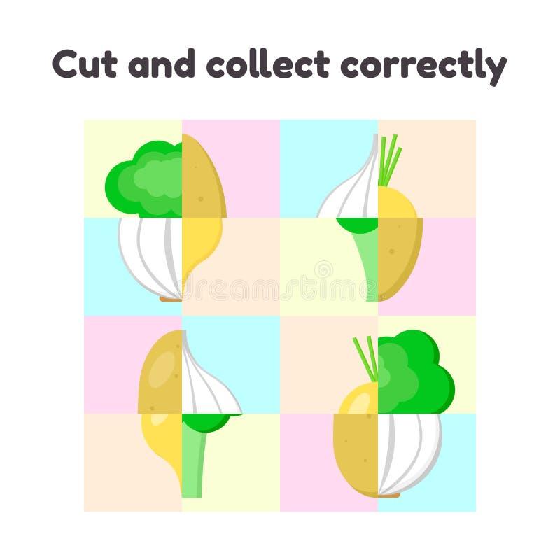 Desconcierte el juego para el preescolar y los niños de edad de escuela corte y recoja correctamente verduras, ajo, nabo, bróculi stock de ilustración