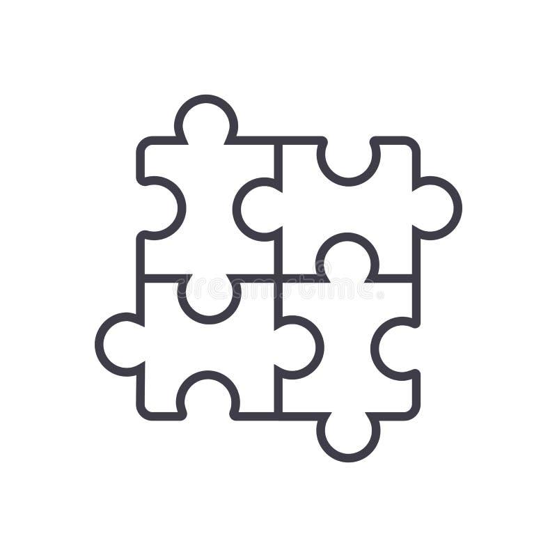 Desconcierte, línea icono, muestra, ejemplo del vector del rompecabezas en el fondo, movimientos editable libre illustration