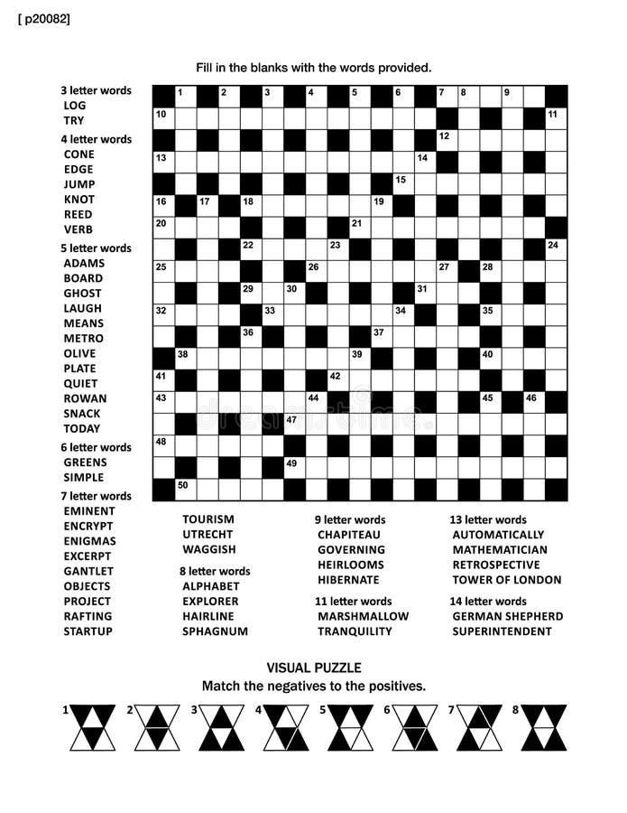 Desconcierte la página con el juego de palabra del crucigrama y represente la criba ilustración del vector