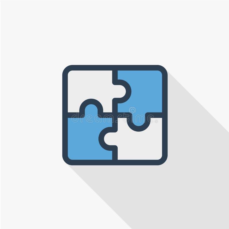 Desconcierte la parte, pedazo del rompecabezas, línea fina icono plano de la solución del color Símbolo linear del vector Diseño  ilustración del vector