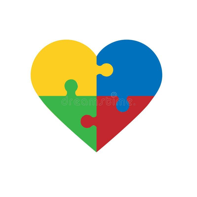 Desconcierte los pedazos en la forma de corazón, aislada en el fondo blanco libre illustration