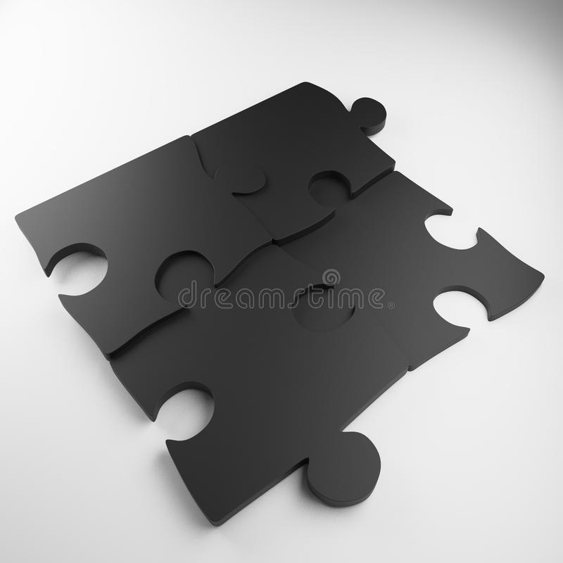 Desconcierte, pedazo del rompecabezas, rompecabezas del metal, rompecabezas del color stock de ilustración