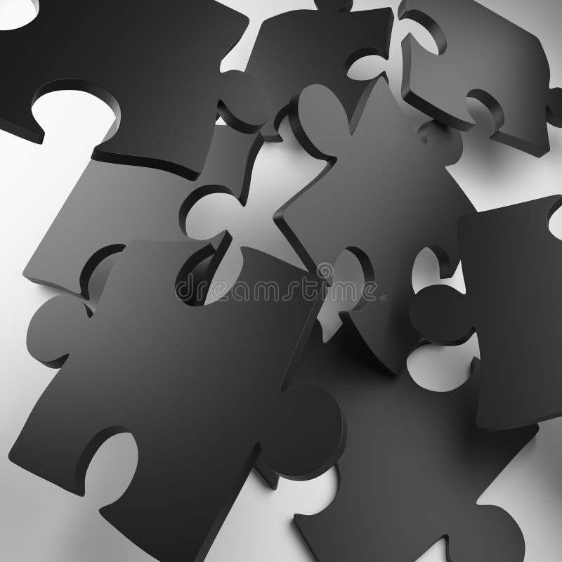 Desconcierte, pedazo del rompecabezas, rompecabezas del metal, rompecabezas del color ilustración del vector