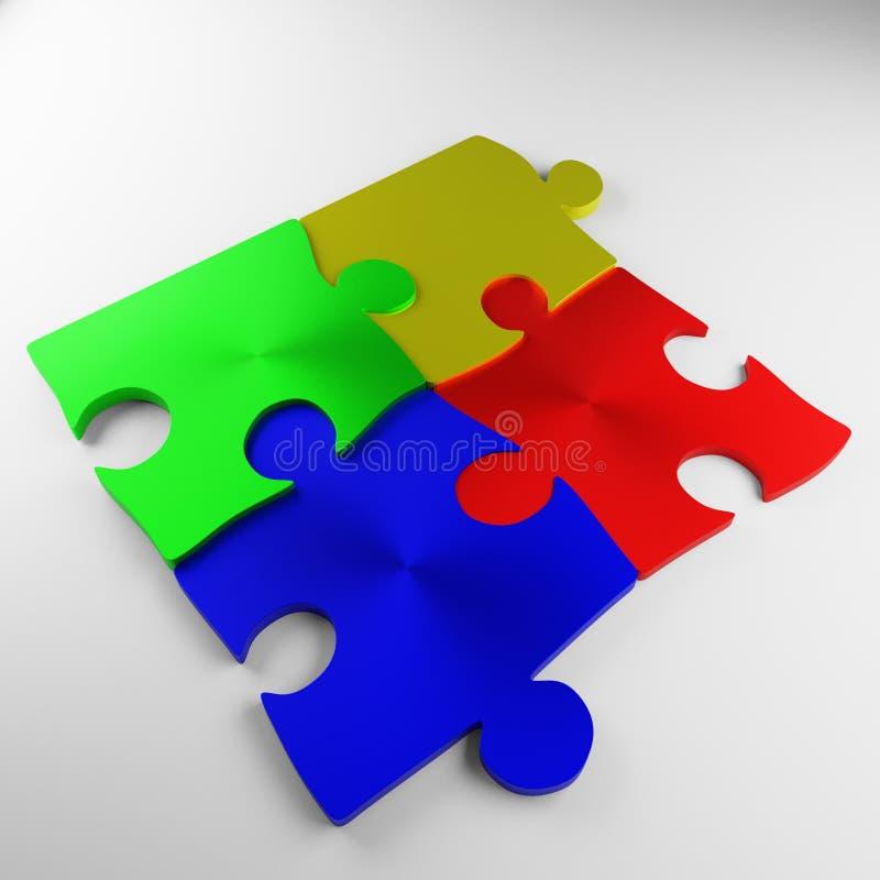 Desconcierte, pedazo del rompecabezas, rojo, azul, verde, amarillo, metal stock de ilustración