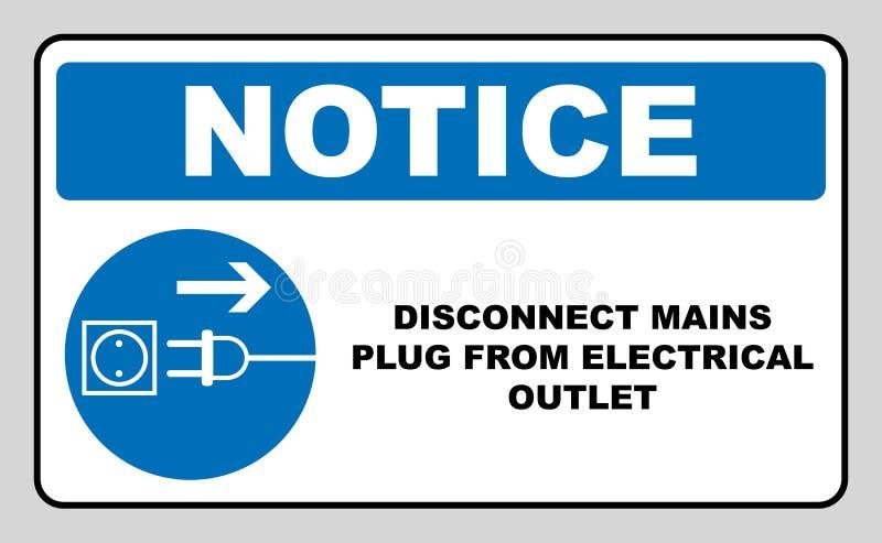 Desconecte el enchufe de las tuberías de muestra eléctrica del mercado Símbolo obligatorio azul Ejemplo del vector aislado en bla ilustración del vector