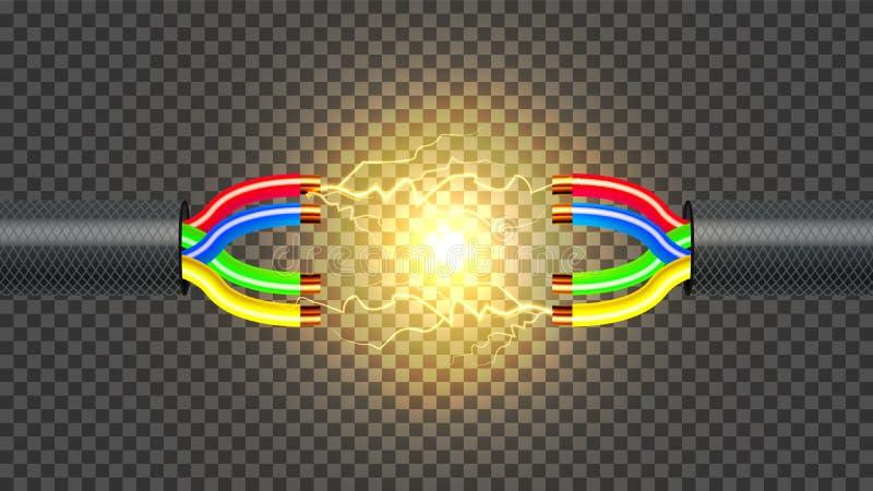 Desconecte el vector del cable eléctrico Conductor del alambre de cobre Componente de la conexión de la comunicación realista 3D  stock de ilustración