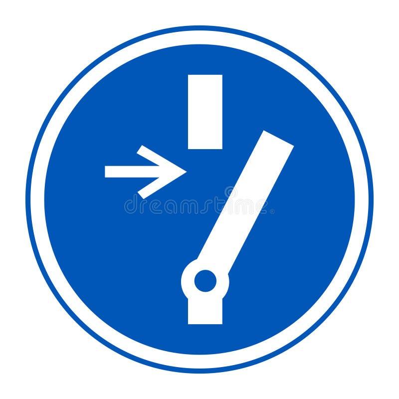 Desconexión antes de la muestra de realización del símbolo del mantenimiento o de la reparación en aislante negro del fondo en el ilustración del vector