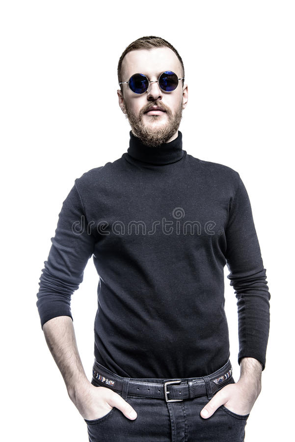 Desconhecido na roupa preta imagem de stock royalty free