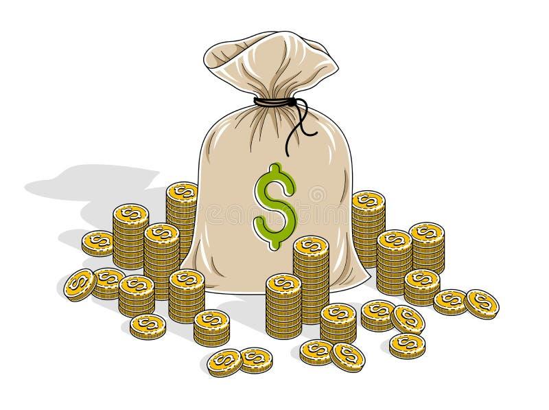 Desconte as riquezas e as economias, saco do dinheiro com o isolado das pilhas do centavo da moeda ilustração royalty free