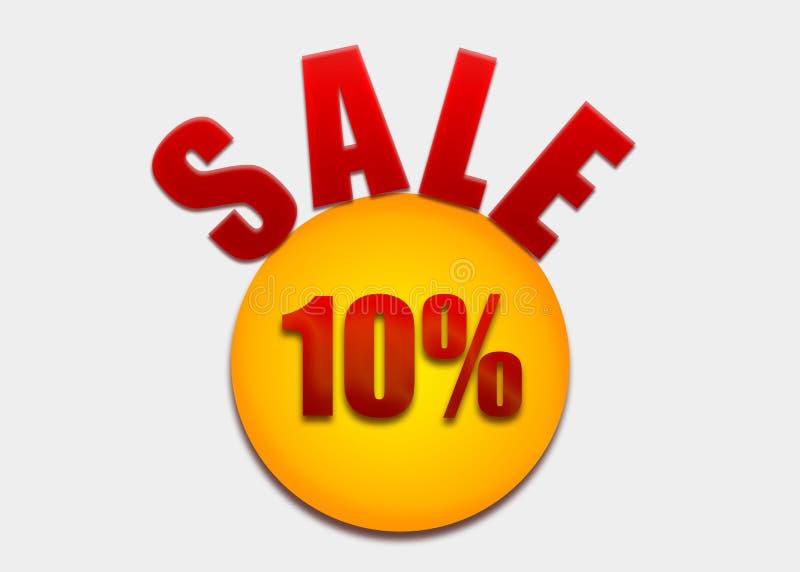 Desconte o vale 10 por cento em um círculo amarelo ilustração royalty free