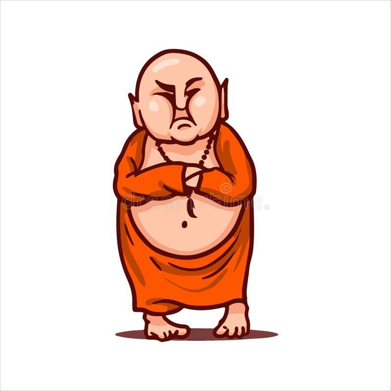 Descontentan a Buda y las miradas críticamente, sus manos dobladas en pecho ilustración del vector