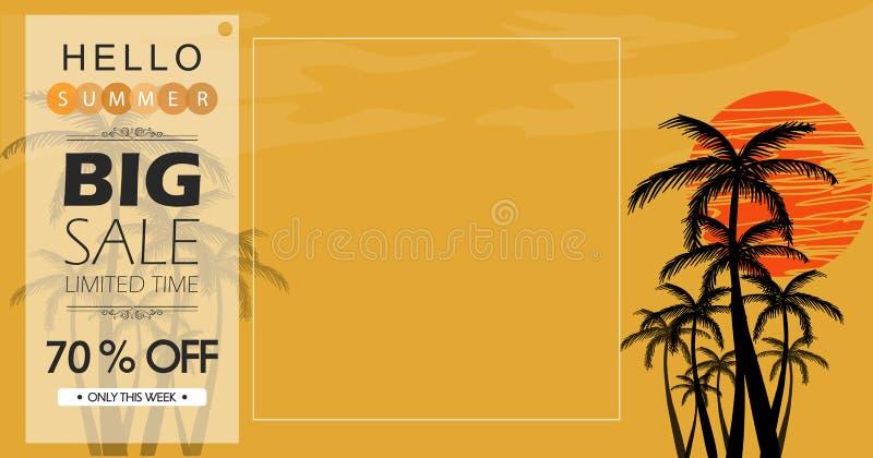 Desconto grande de compra do verão do projeto de conceito ilustração royalty free