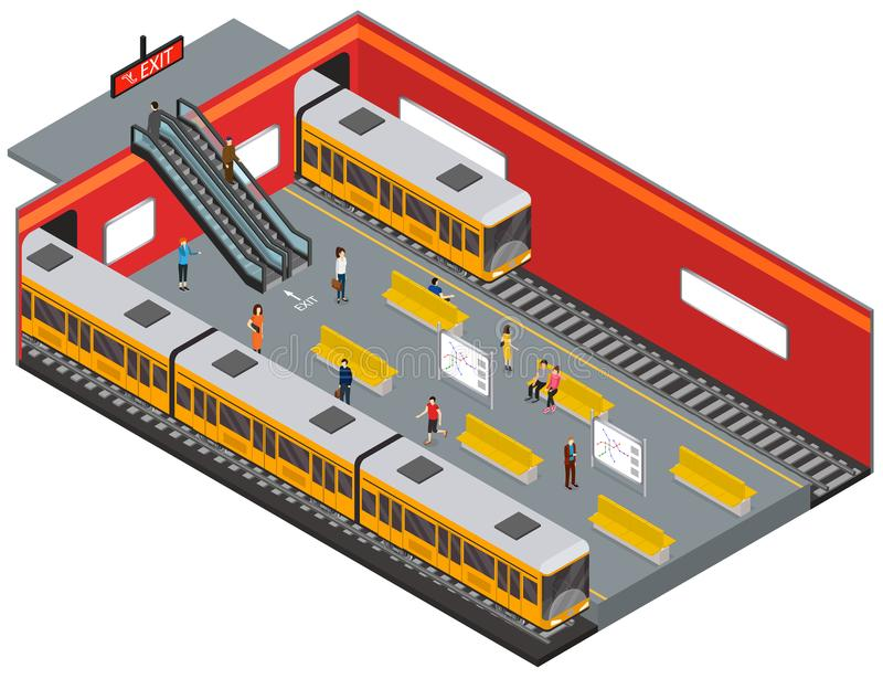 Descrevendo a opinião isométrica de estação de metro Vetor ilustração stock
