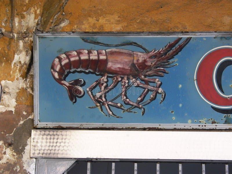 Descrição das lagostas no sinal imagem de stock royalty free