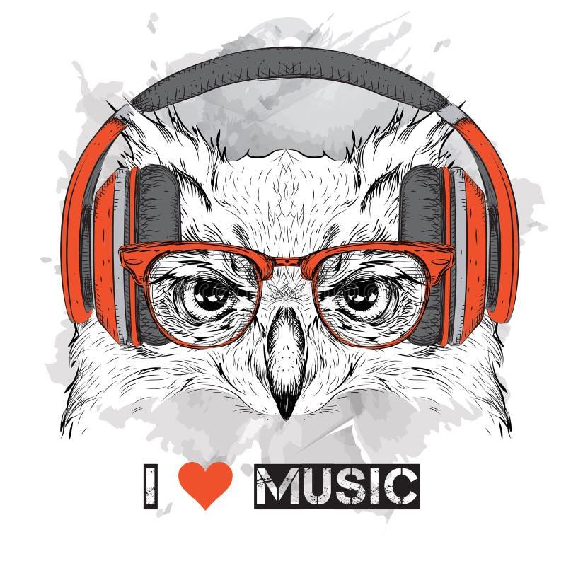 Descrição/título/subtítulo: A imagem da coruja nos vidros e nos fones de ouvido Ilustração do vetor ilustração royalty free