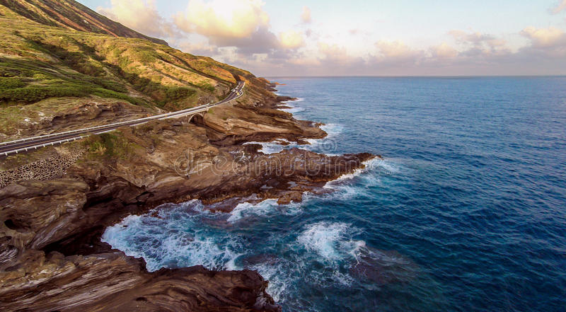 Descripción aérea de la orilla suroriental del ` s de Oahu imagen de archivo libre de regalías