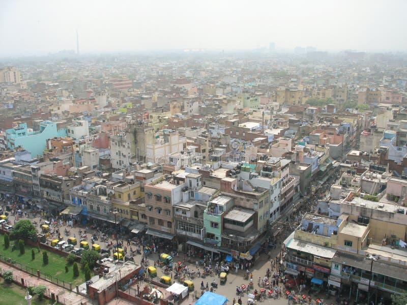 Descripción aérea el centro de Delhi vieja, la India fotos de archivo