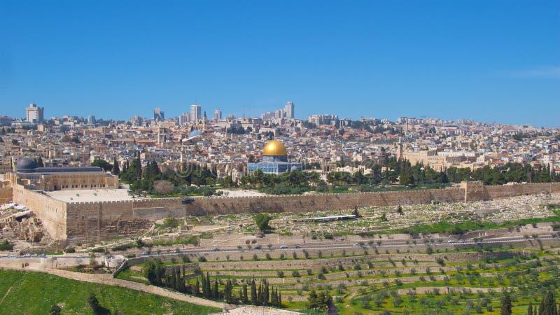Descripción de la Explanada de las Mezquitas en la ciudad vieja de Jerusalén, Israel foto de archivo