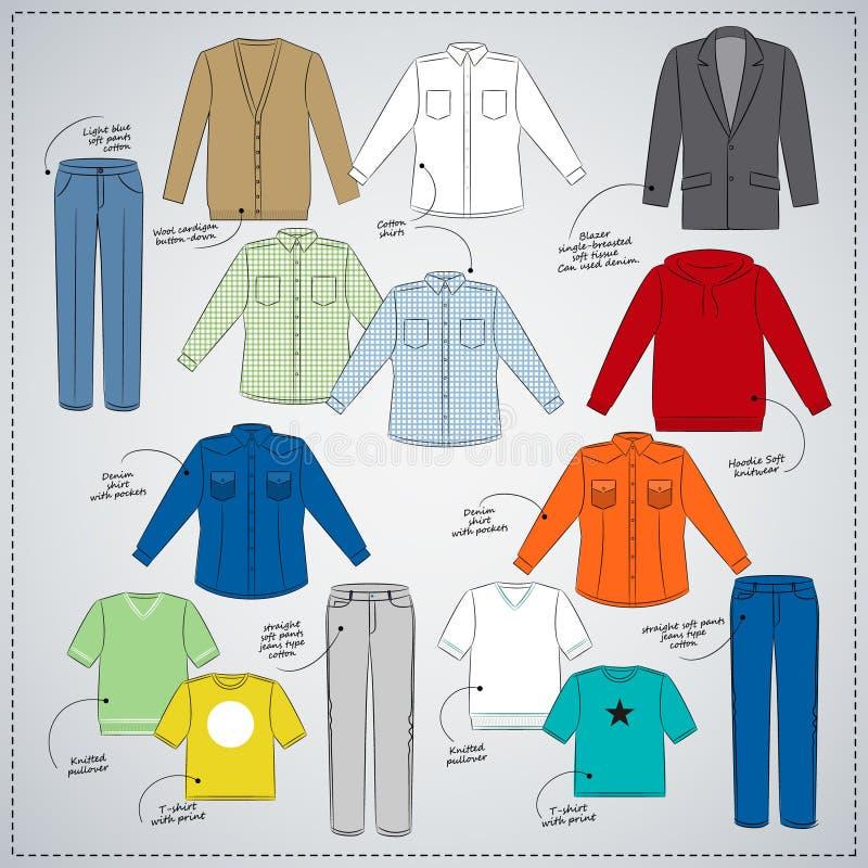 Descripción de la ropa de caballero del bosquejo Ropa coloreada, camisas, pantalones, camisetas stock de ilustración