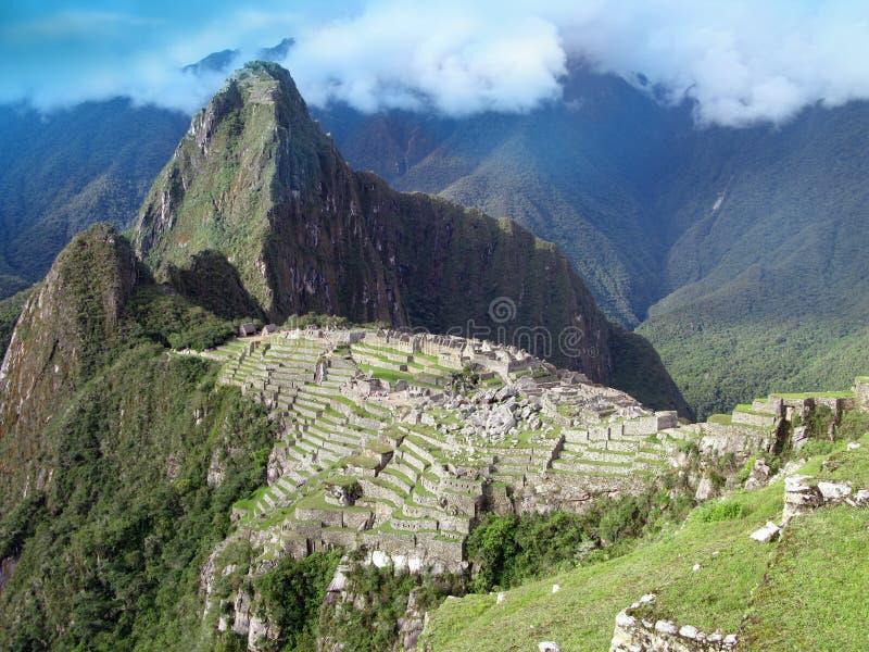 Descripción de Machu Picchu en Perú imagen de archivo