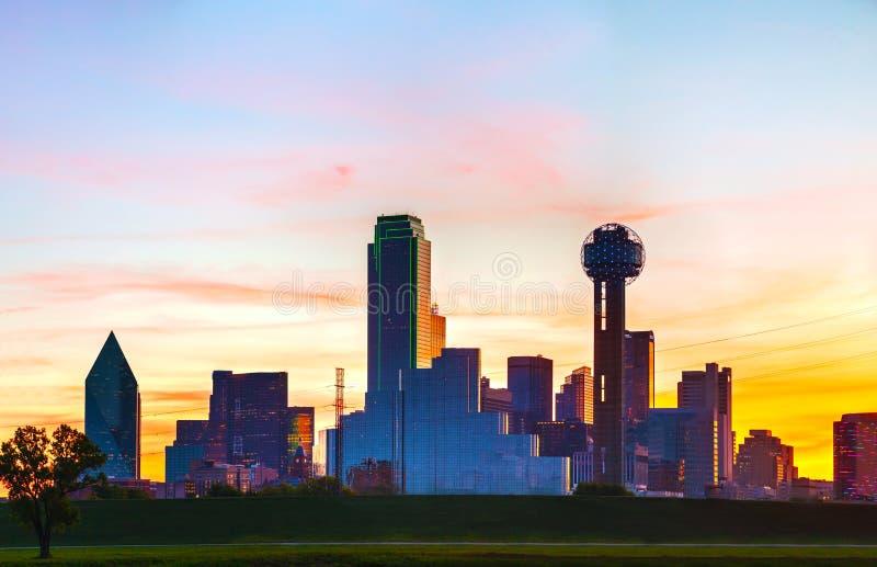 Descripción panorámica de Dallas céntrica foto de archivo libre de regalías