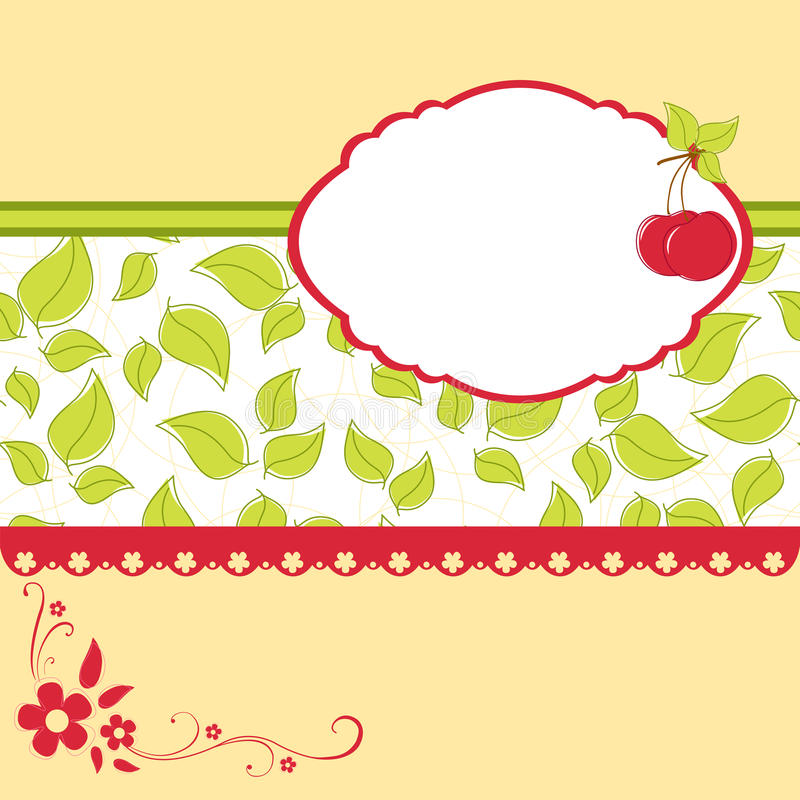 Descripteur blanc pour la carte de voeux de cerise illustration stock