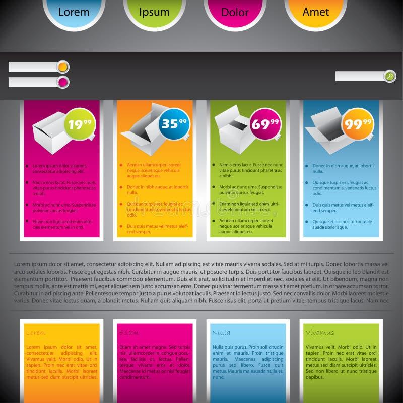 Descripteur coloré de site Web avec des cadres illustration stock