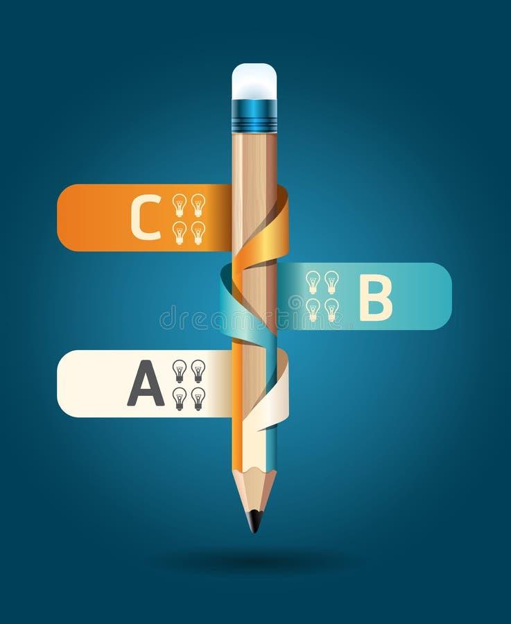 Descripteur créatif avec le drapeau de bande de crayon illustration stock