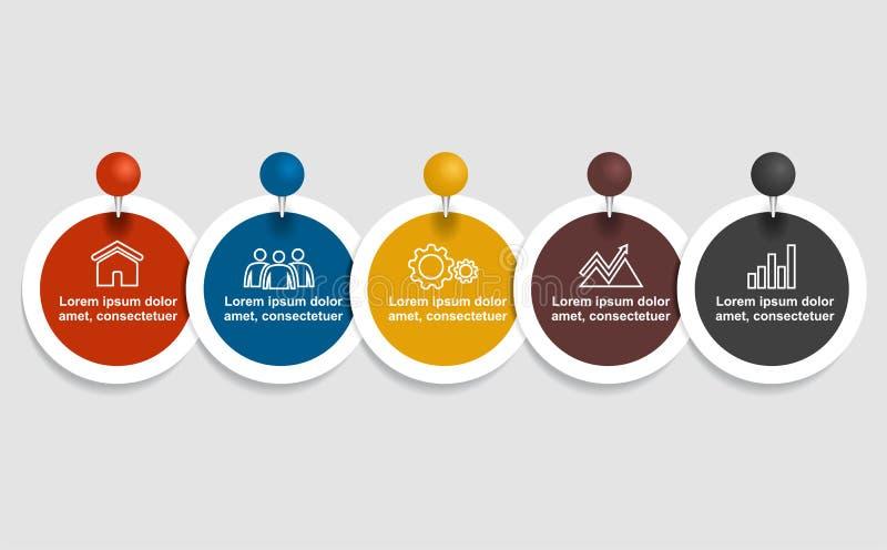 Descripteur d'Infographic Illustration de vecteur Peut être employé pour la disposition de déroulement des opérations, diagramme, illustration stock