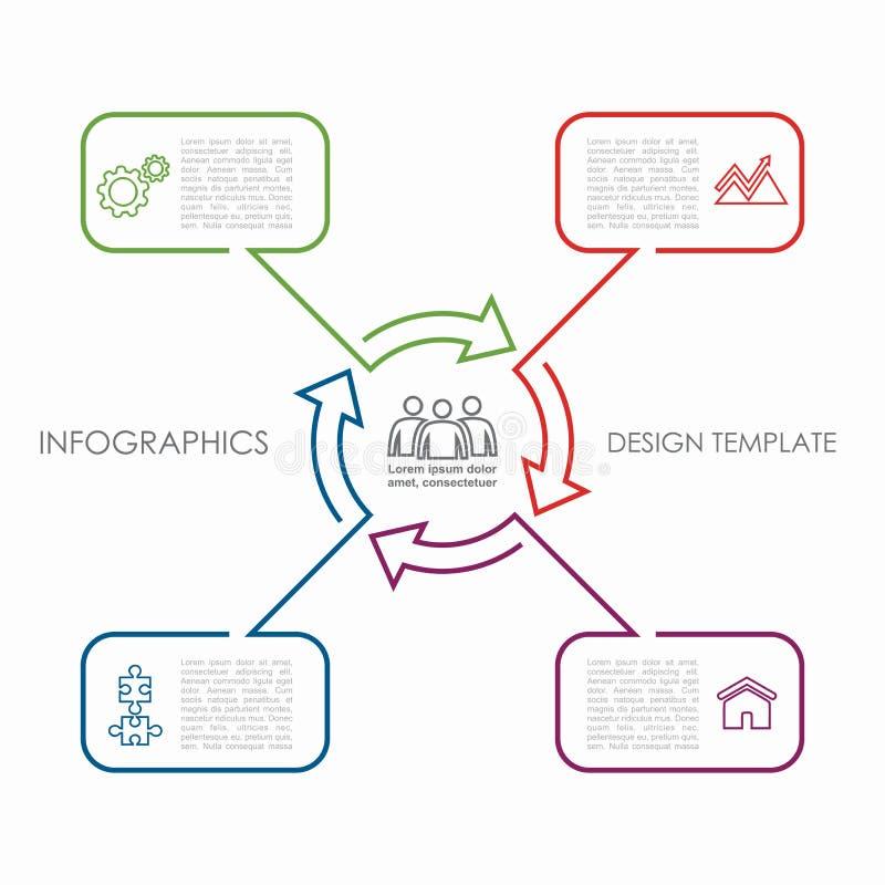 Descripteur d'Infographic peut être employé pour la disposition de déroulement des opérations, diagramme, options d'étape d'affai illustration stock