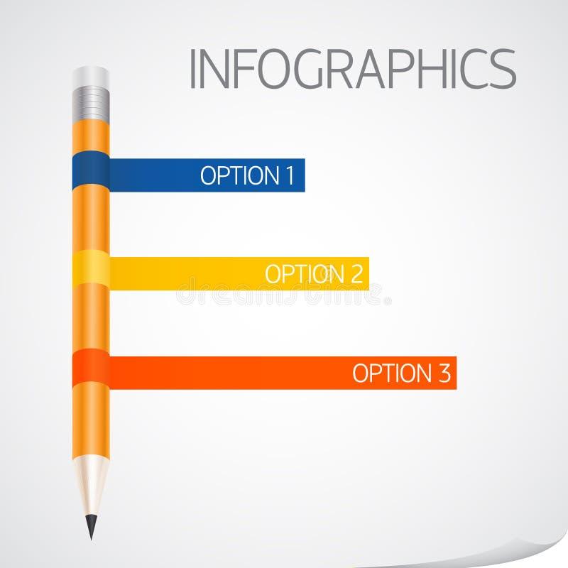 Descripteur d'Infographics avec le drapeau de bande de crayon illustration stock