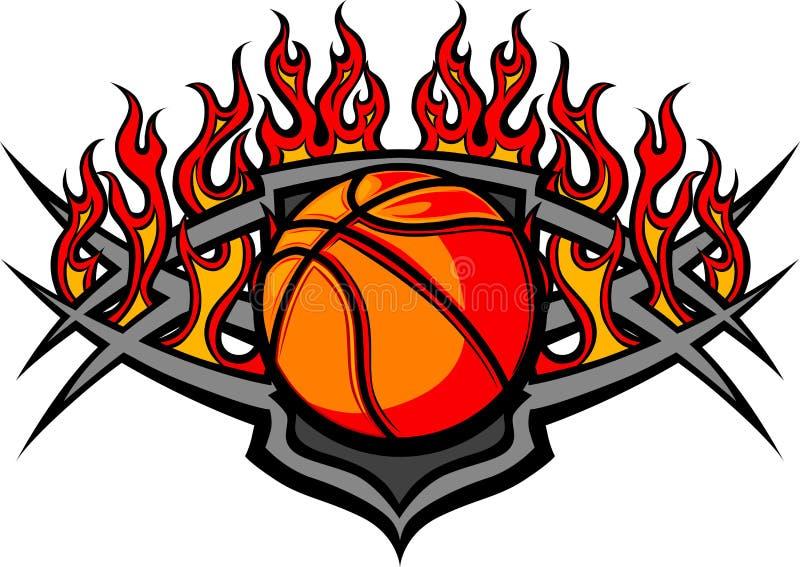 Descripteur de bille de basket-ball avec l'image de flammes illustration de vecteur