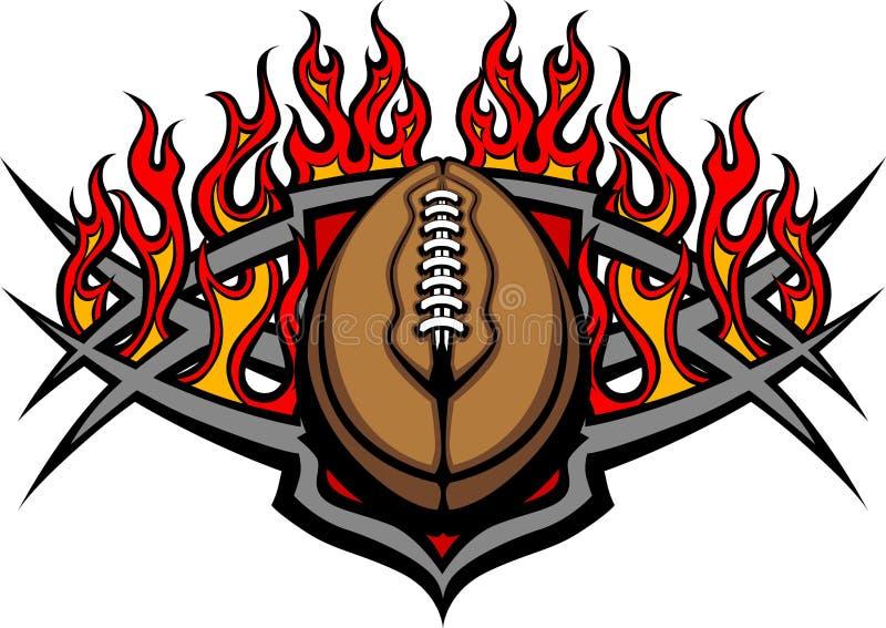 Descripteur de bille du football avec l'image de flammes illustration stock