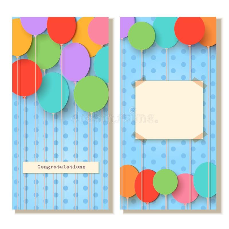 Descripteur de carte de voeux Ballons de coupe de papier de vol sur le fond bleu Illustration d'applique de vecteur Decorati de f illustration stock