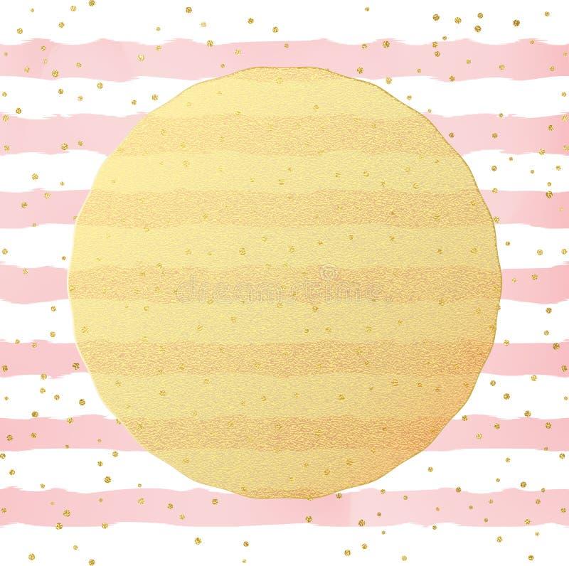 Descripteur de carte de voeux Confettis de points d'aluminium de scintillement d'or sur le fond blanc et rose rayé d'aquarelle EN illustration libre de droits