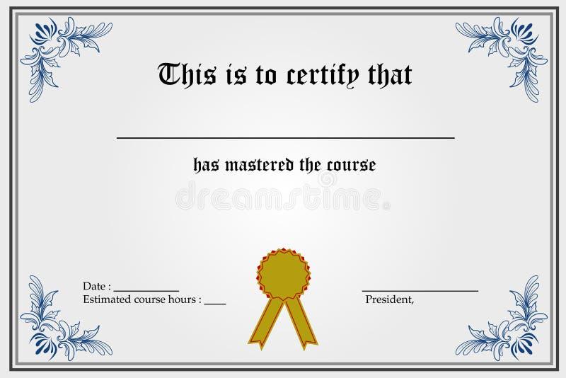 Descripteur de certificat illustration stock