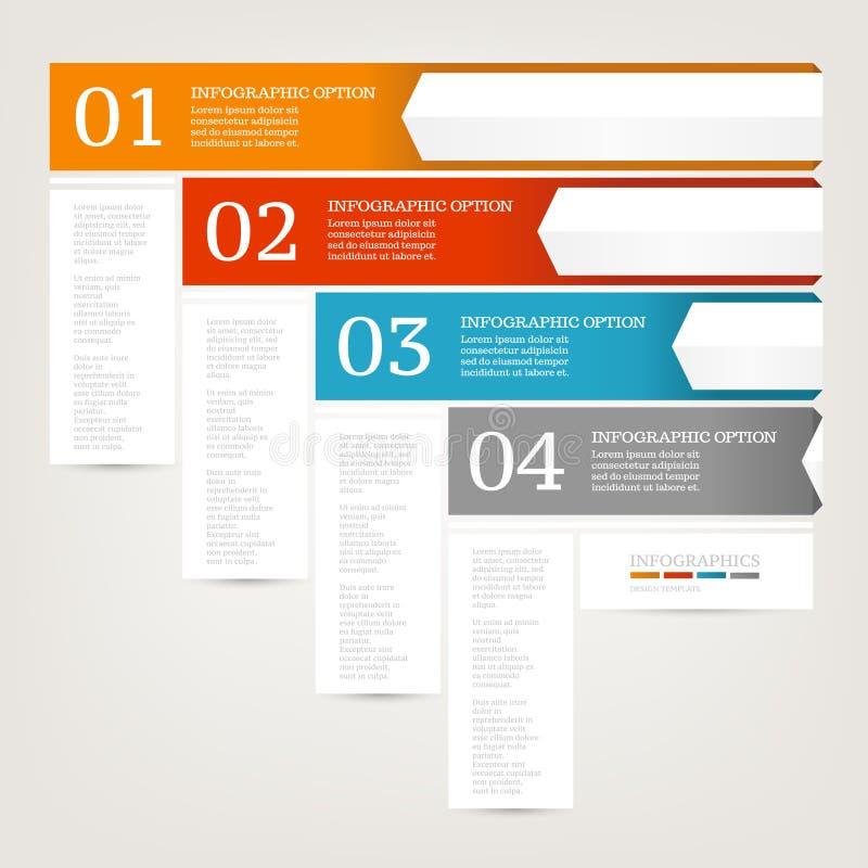 Descripteur de conception d'Infographics Concept d'affaires avec quatre options Couleurs rouges, bleues, oranges, grises illustration stock