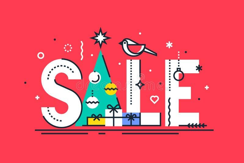 Descripteur de conception de vente de Noël Composition en vente de Noël avec des boules, des flocons de neige et l'arbre de Noël  illustration stock