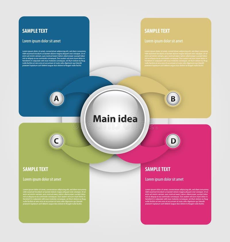 Descripteur de présentation avec quatre cadres illustration de vecteur