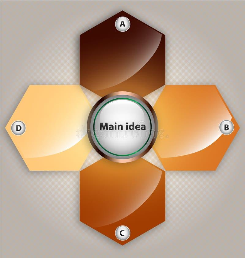 Descripteur de présentation avec quatre cadres des textes illustration stock