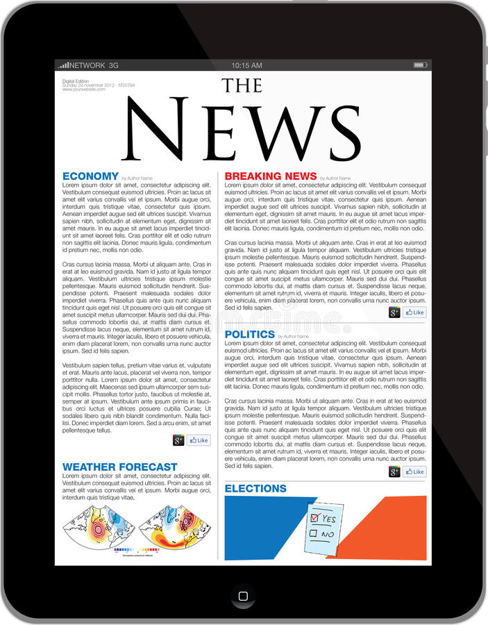 Descripteur de site de nouvelles sur l'iPad neuf illustration stock