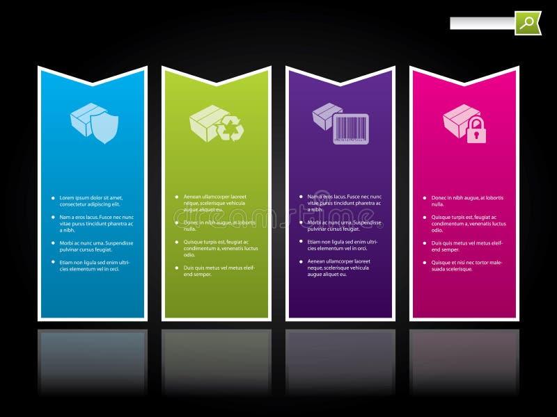 Descripteur de site Web avec des étiquettes de couleur illustration de vecteur