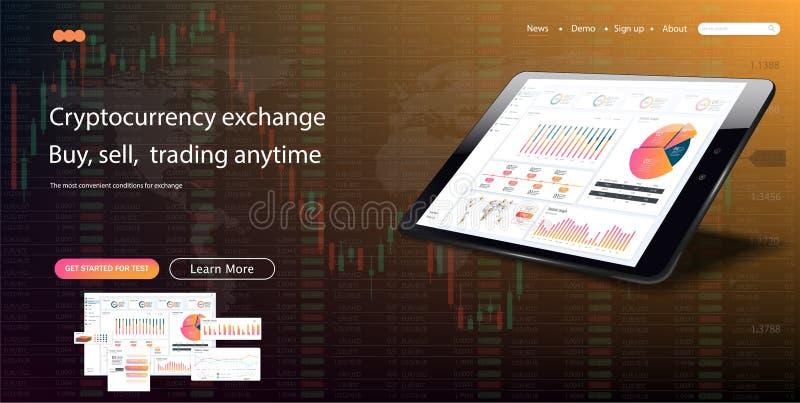 Descripteur de site Web Les forex lancent sur le marché, des actualités et analyse illustration libre de droits