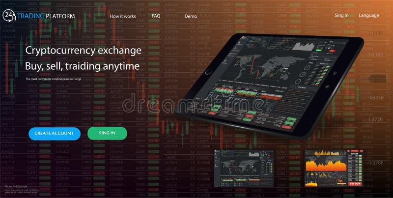 Descripteur de site Web Les forex lancent sur le marché, des actualités et analyse Option binaire Écran d'application pour le com illustration de vecteur