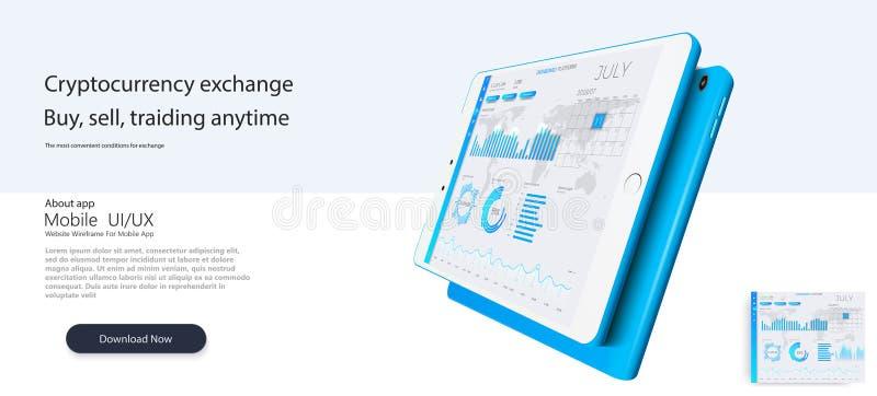 Descripteur de site Web Les forex lancent sur le marché, des actualités et analyse Option binaire Écran d'application pour le com illustration stock