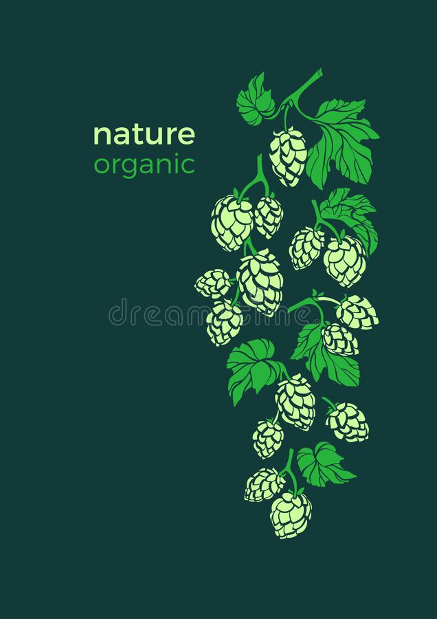 Descripteur de vecteur Branche d'houblon Label de fines herbes naturel illustration stock