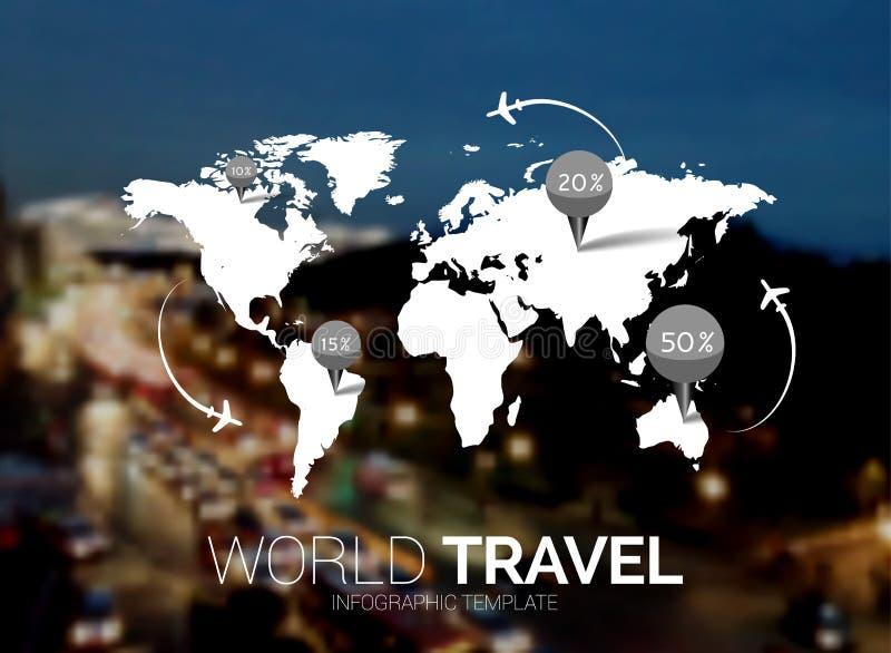 Descripteur de vecteur Carte du monde sur le fond brouillé de nature Points, concept de voyage Web, calibre mobile d'interface illustration libre de droits
